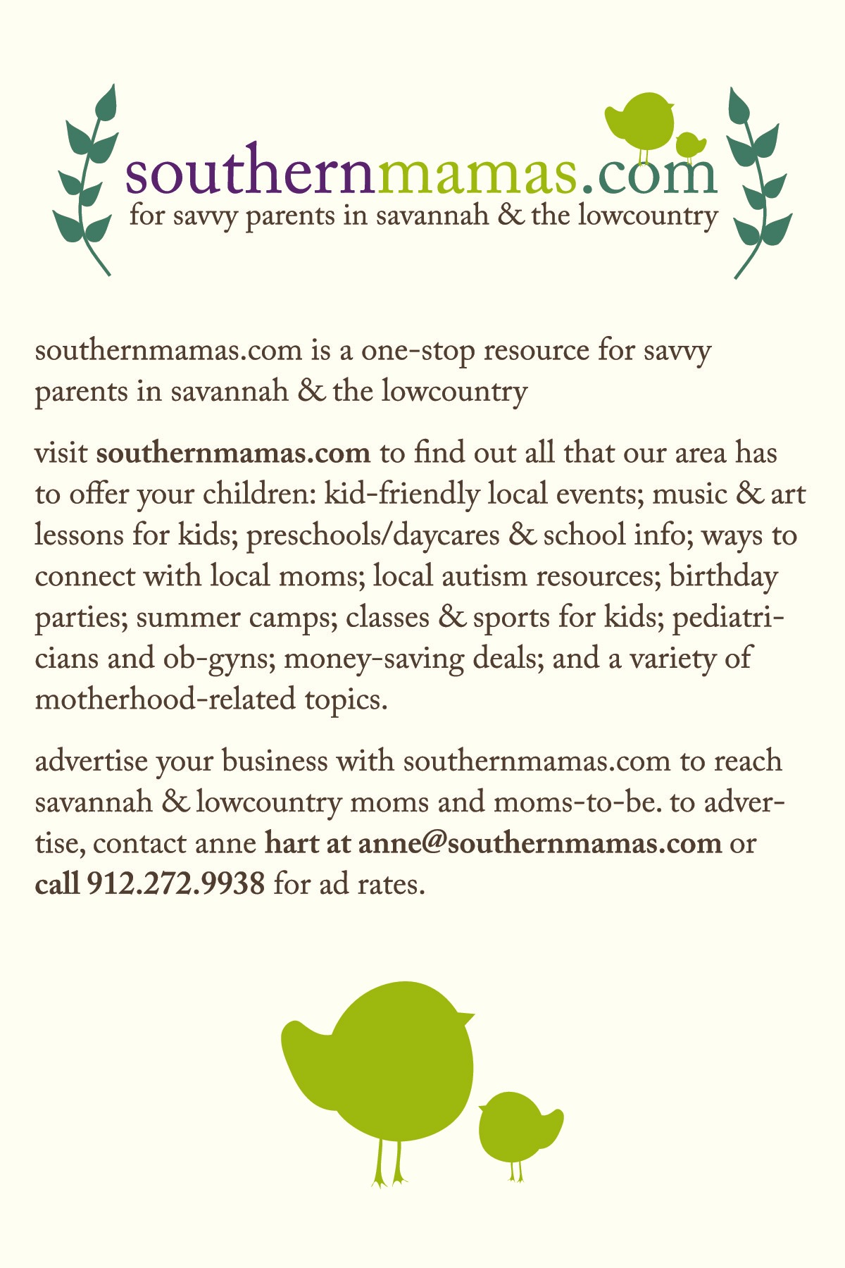 Advertise on SouthernMamas.com to reach moms in Savannah, Hilton Head Is.