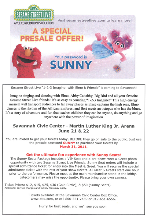 Sesame place discount coupons