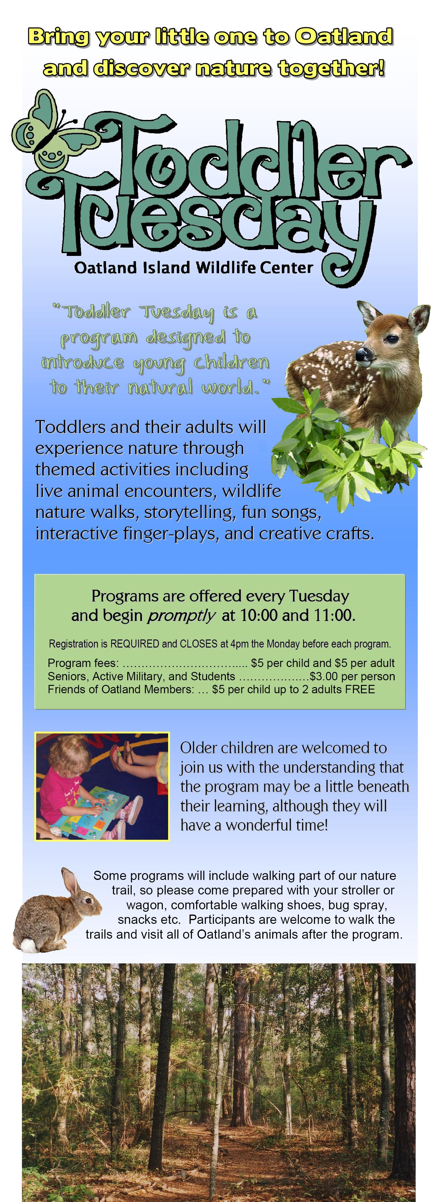 Toddler Tuesdays nature programs for kids in Savannah at Oatland Island Wildlife Center