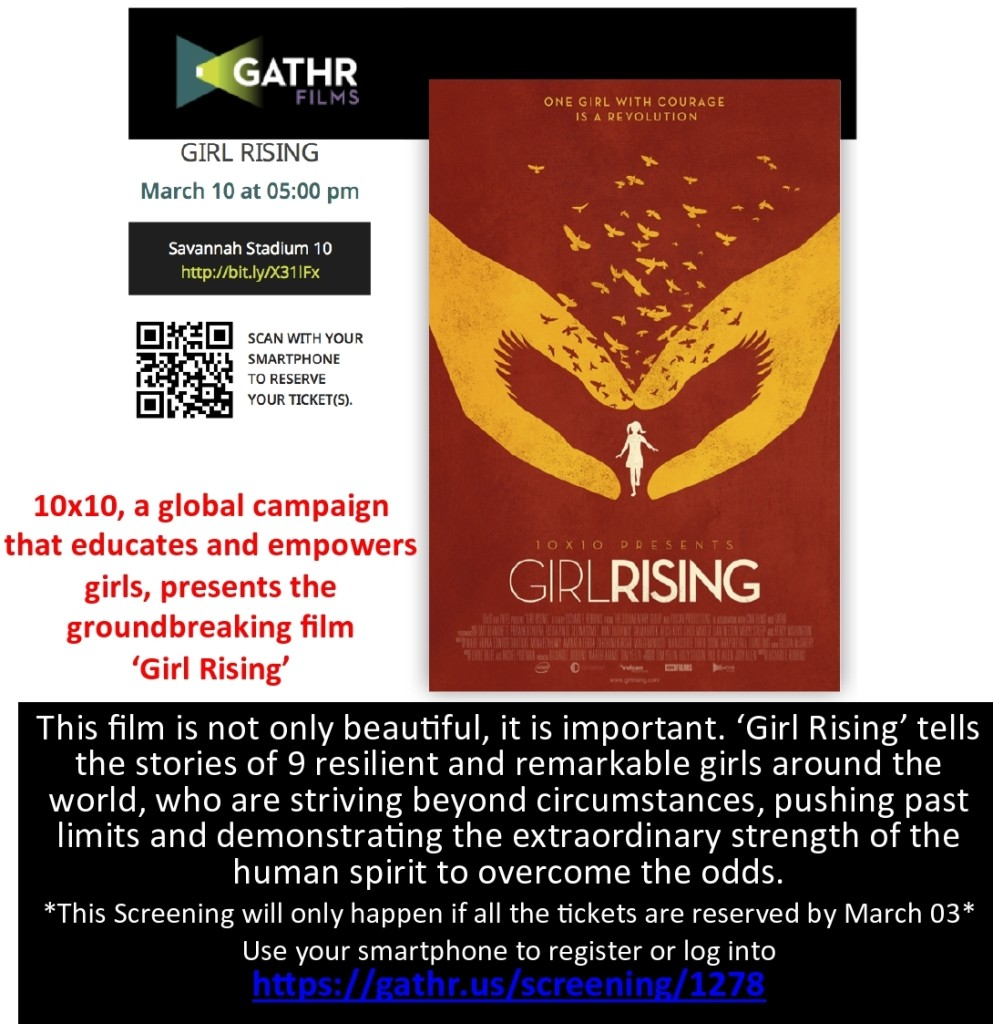"Help bring the film ""Girl Rising' to Savannah"