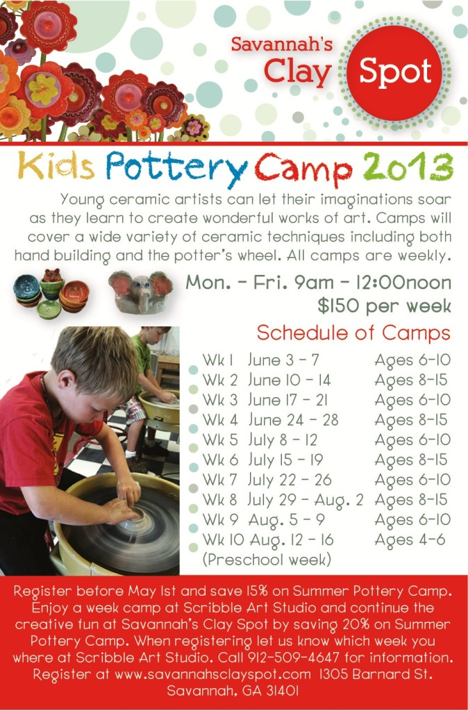 Kids' Summer 2013 Pottery Camps at Savannah's Clay Spot