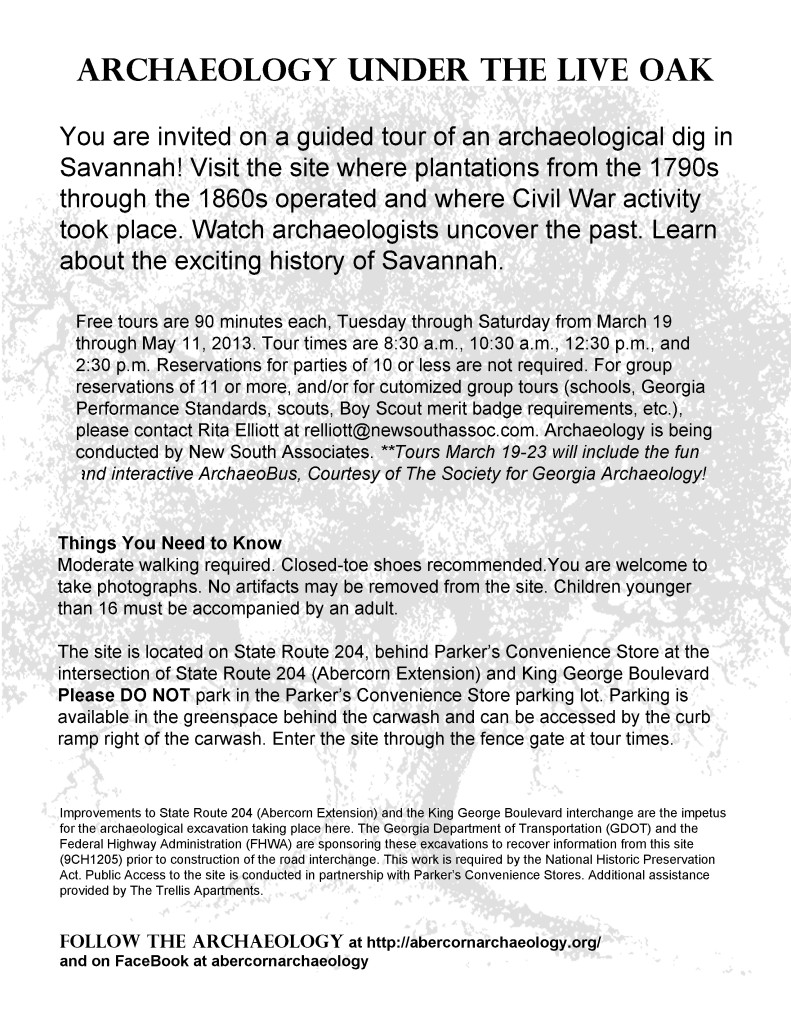 abercornarchaeology, tour an active Savannah archaeological site for FREE
