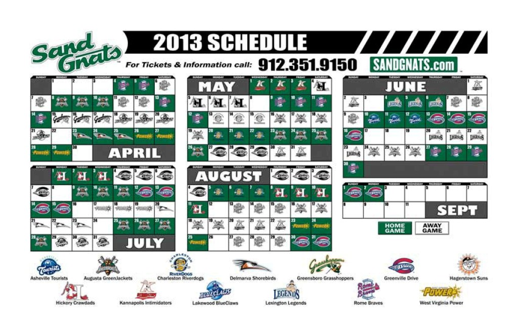 Savannah Sand Gnats 2013 Season Schedule