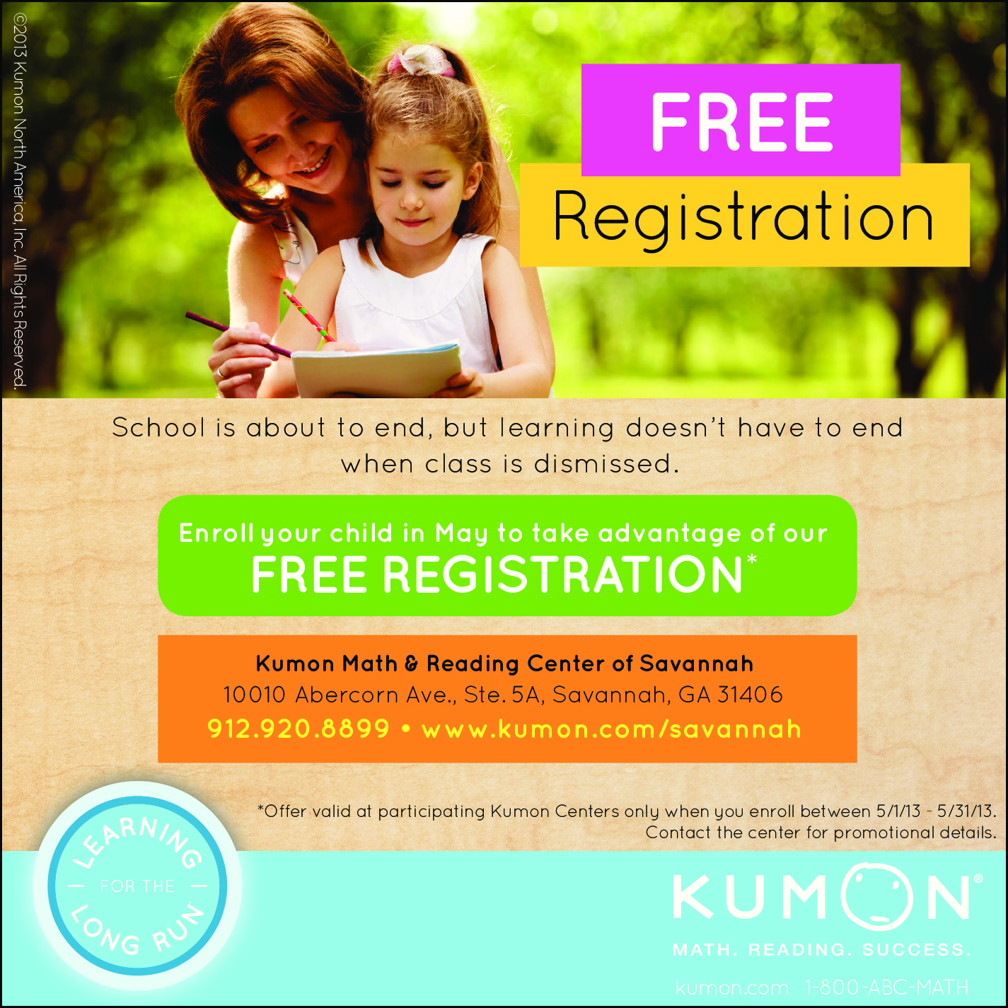 Kumon Savannah offers free registration during May 2013