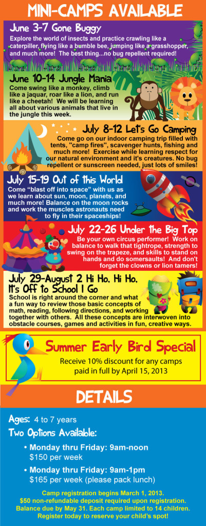 Summer camps for toddlers, preschoolers in Savannah at Tumblegym on Wilmington Island