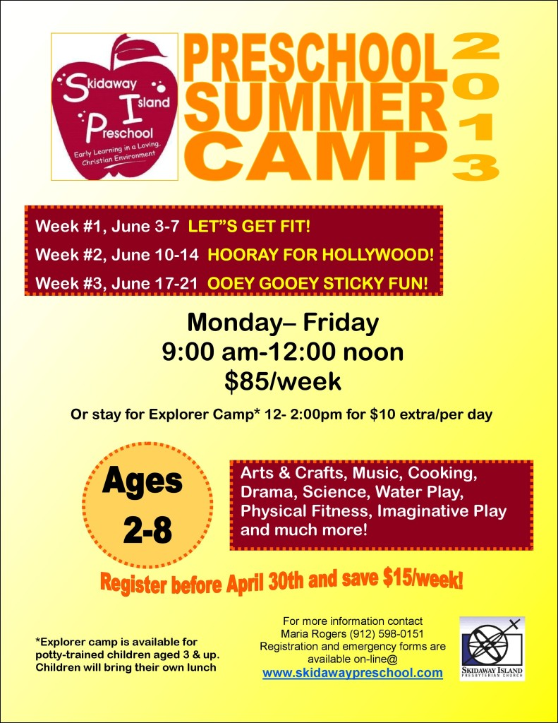 Skidaway Is. Preschool Summer Camp for ages 2-8, Savannah