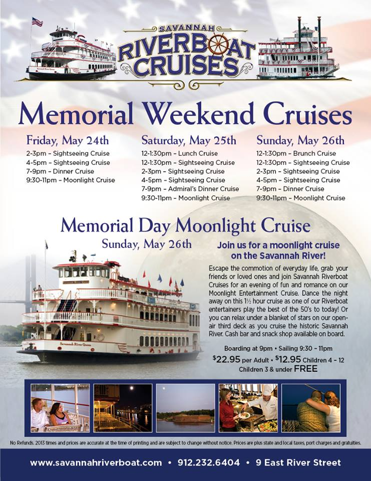 Savannah Riverboat Memorial Weekend Cruises