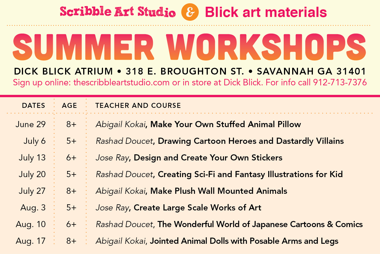 Scribble Art studio kids' summer workshops 2013 Savannah