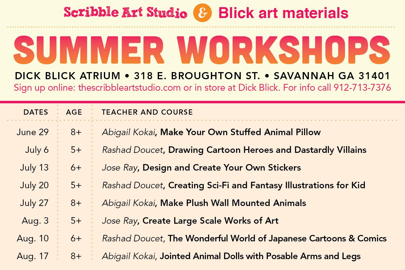 Scribble Art studio kids' summer workshops 2013 Savannah