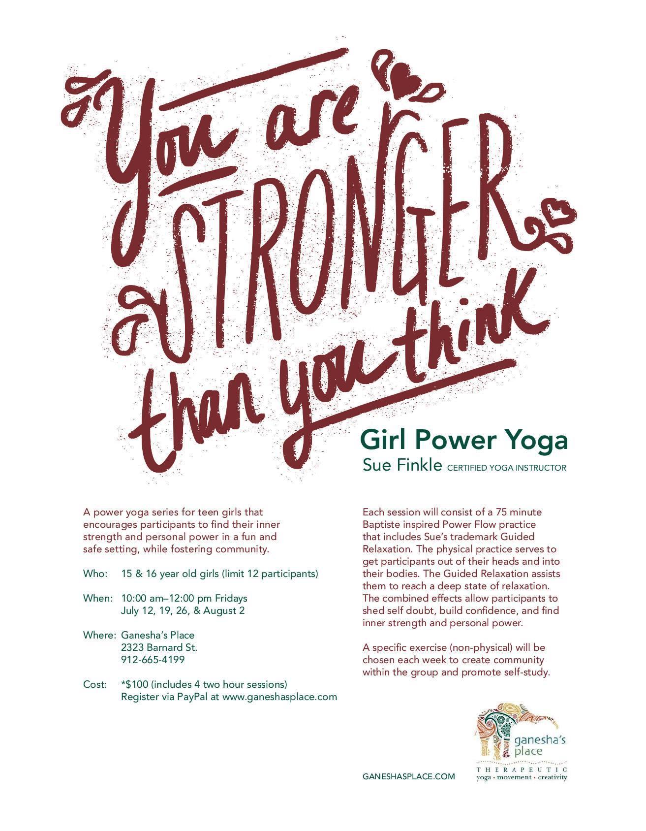 Teen yoga at Ganesha's Place Savannah