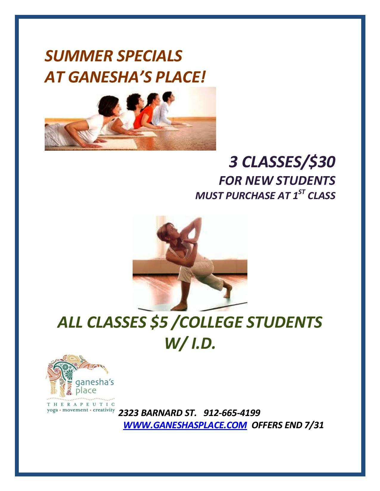 Yoga Summer Specials at Ganesha's Place in Savannah