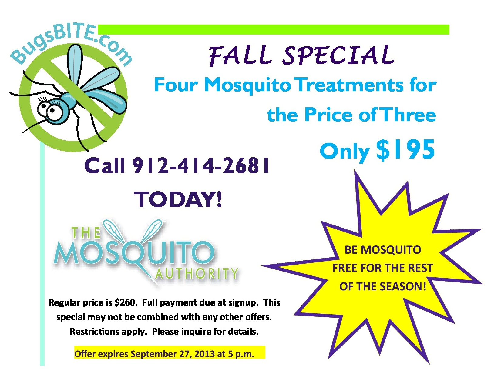 Mosquito Authority Fall 2013 Discount