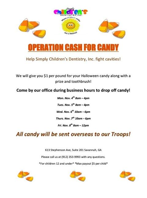 Donate Buy Back Halloween Candy Savannah pediatric dentists
