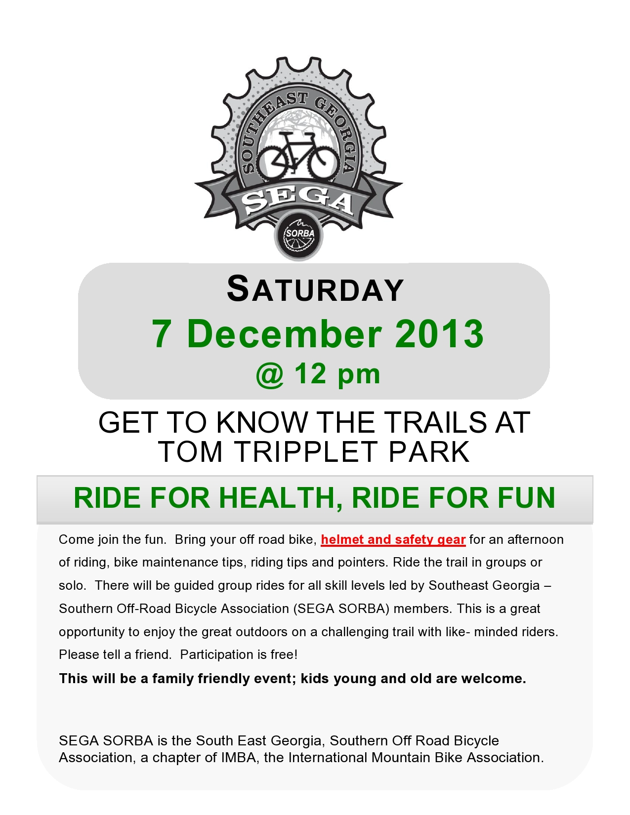 Free family bike ride Pooler 2013