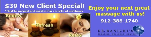 Massage deal at Ranicki Wellness Center Savannah