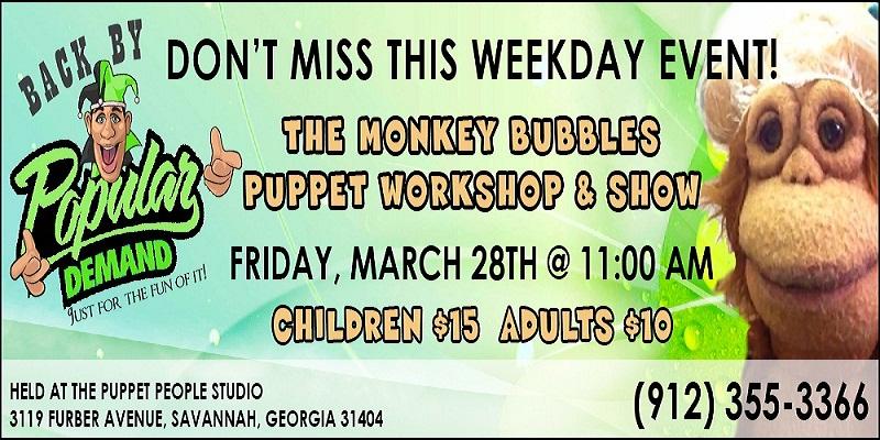 Puppet People Monkey Bubbles workshop Savannah