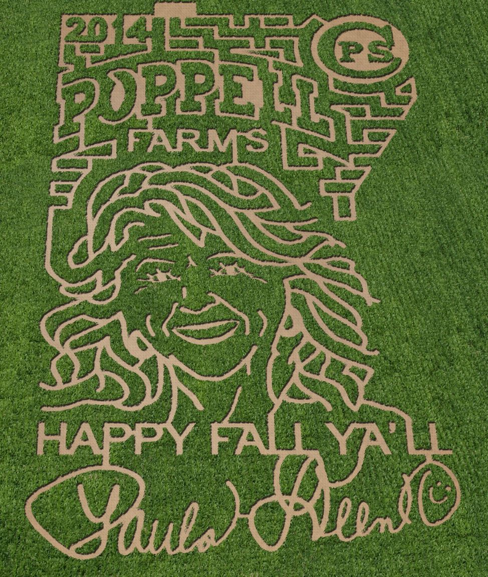 Pumpkin patches, corn mazes, agritourism, Poppell Farms 2014 Corn Maze in honor of Paula Deen