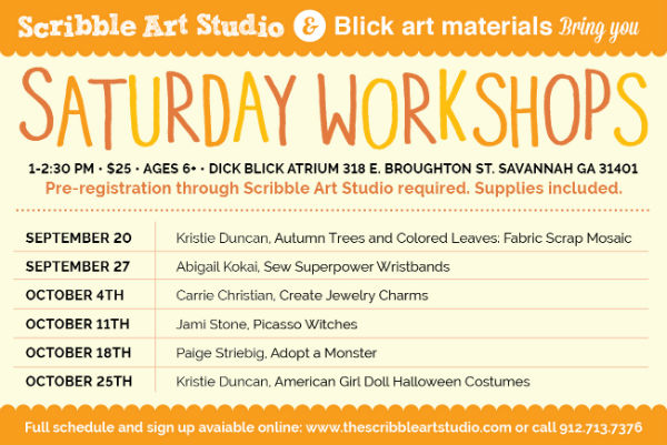 Saturday Art Workshops in Savannah