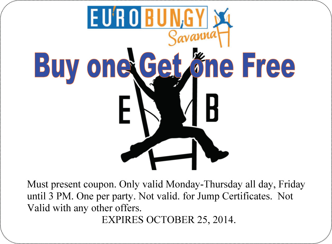 Eurobungy Savannah coupon Buy one Get One Free