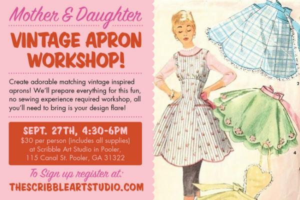 Mother & Daughter Vintage Apron Workshop Pooler Scribble Art Studio