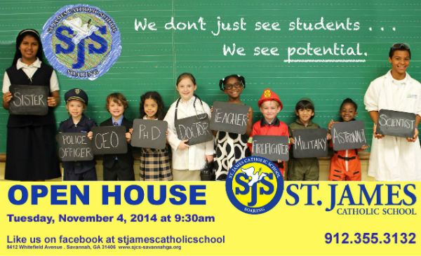 Savannah private Schools open houses St James Catholic School