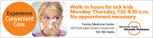 Memorial Health Family Medicine Center Savannah Walk-in hours for sick kids