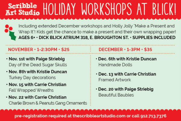 Saturday art kids workshops holiday shopping for parents Savannah