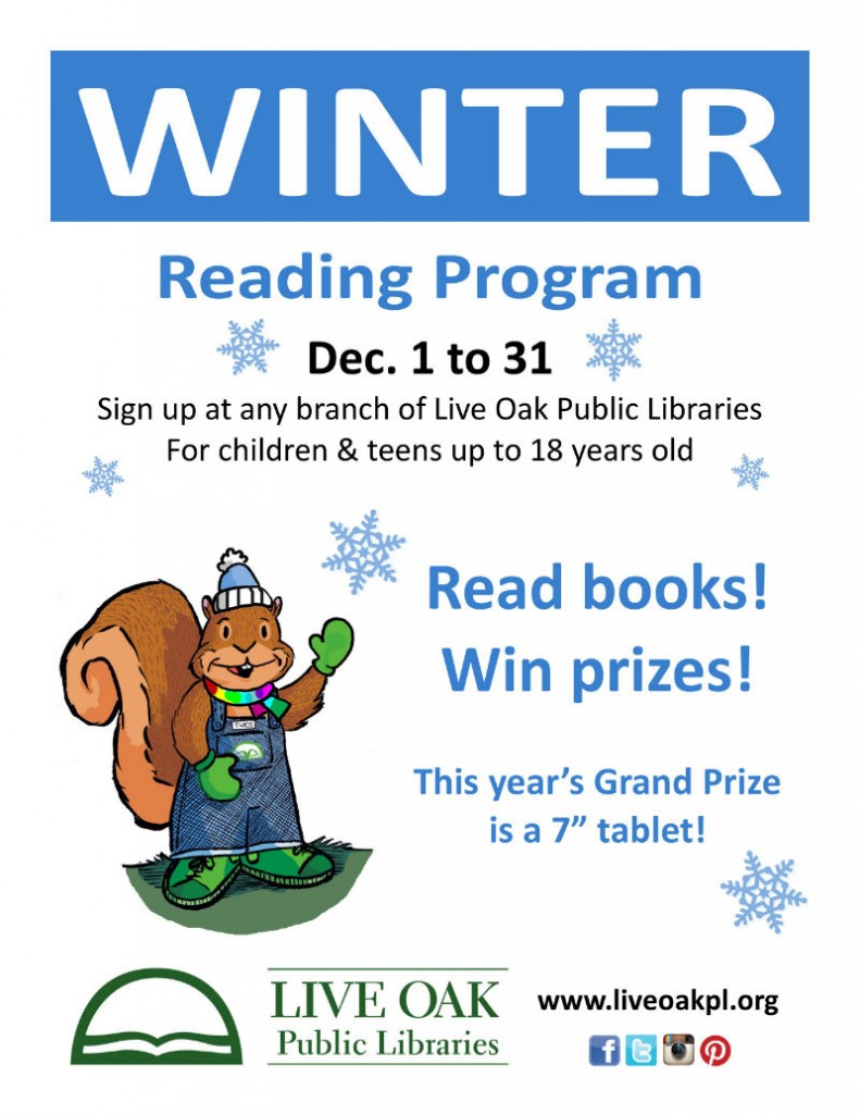 FREE Winter Reading program 2014 Live Oak Public Libraries