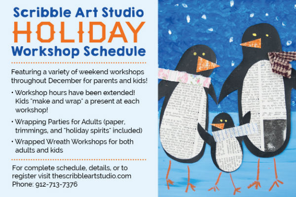 Holiday children events Savannah Scribble Art Studio
