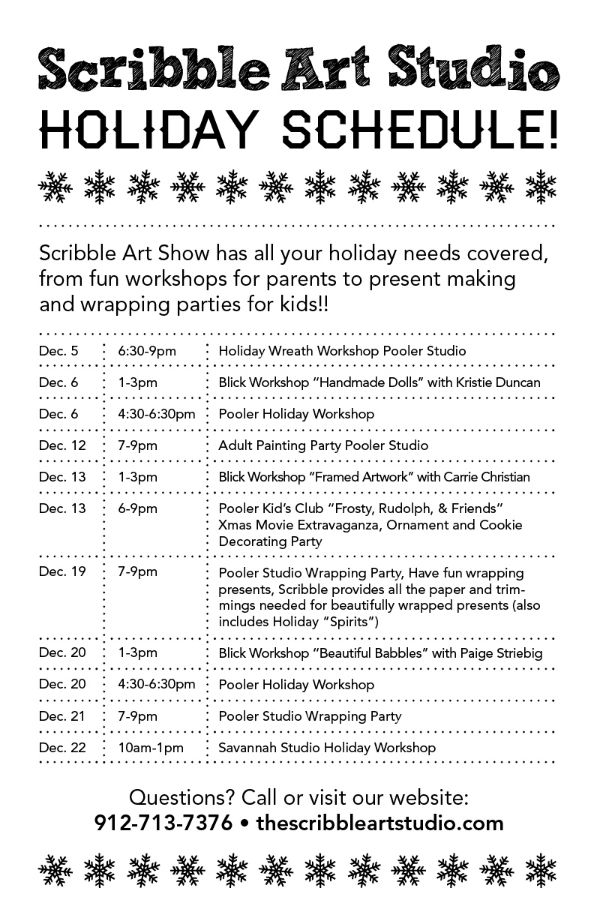 Holiday art workshops for kids Savannah