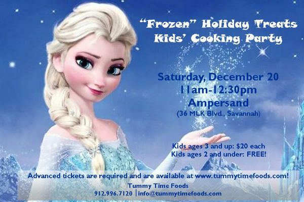 Frozen cooking holiday party for kids Savannah Tummy Time Foods