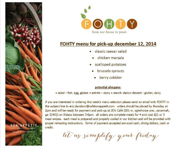 FOHTY menu for pick up SCAD Bon Appetit Dec. 12