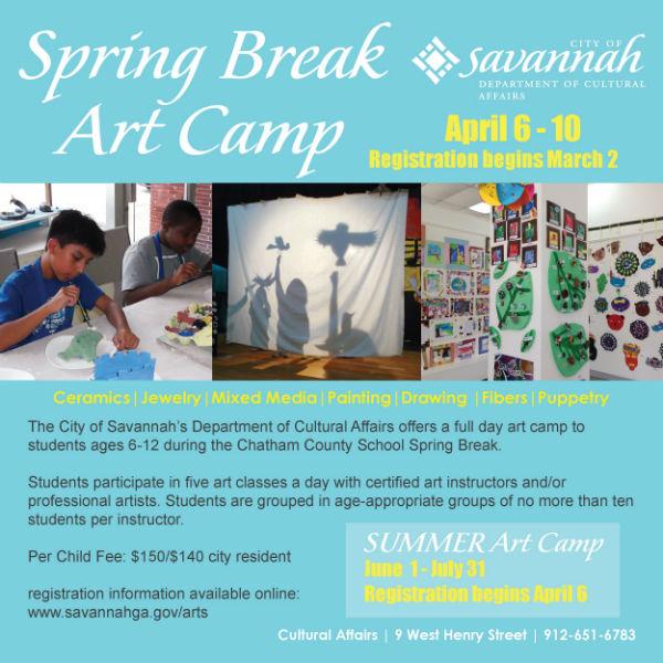 spring break art camp Savannah 2015