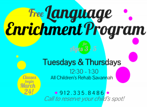 Free language enrichment program for children Savannah All Children's Rehab