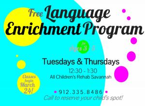 Free language enrichment program for children Savannah All Children's Rehab