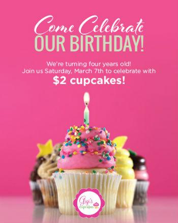 $2 cupcakes Gigi's Cupcakes Savannah 4th Anniversary