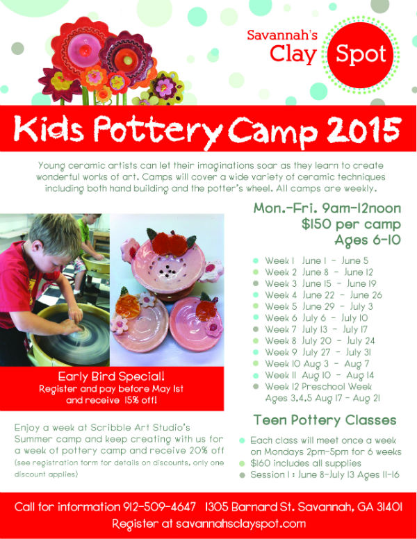 Savannah Summer Camps 2015 Kids Pottery Camp at Savannah's Clay Spot
