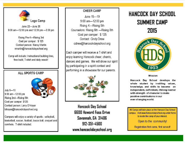 Summer Camps 2015 Hancock Day School