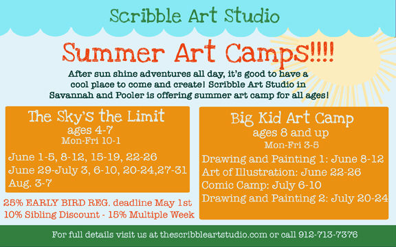 Art Camps for all ages at Scribble Art Studio Savannah, Pooler