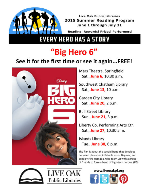 Free showings of Big Hero 6 summer Savannah