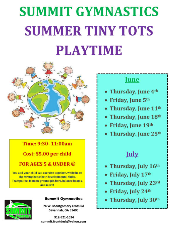 Summer Tiny Tots Summit Gymnastics Savannah