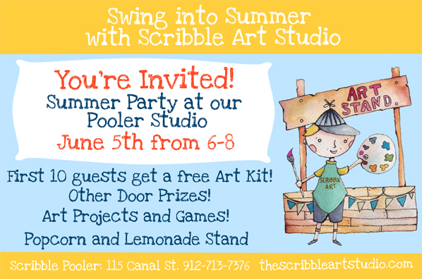 FREE Summer Party at Scribble Art Studio in Pooler