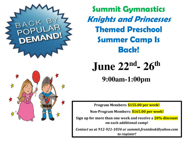 knights princess camp Savannah Summit Gymnastics
