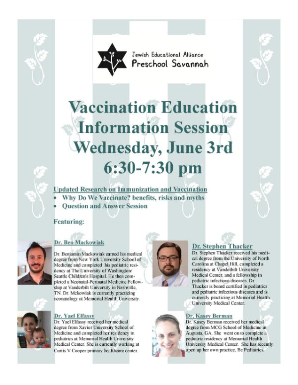 Vaccination Education Info Session Savannah JEA Preschool