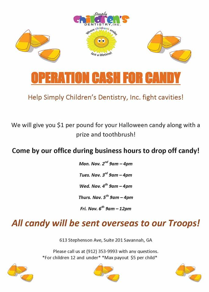 Halloween Cash for Candy Buyout Savannah dentists