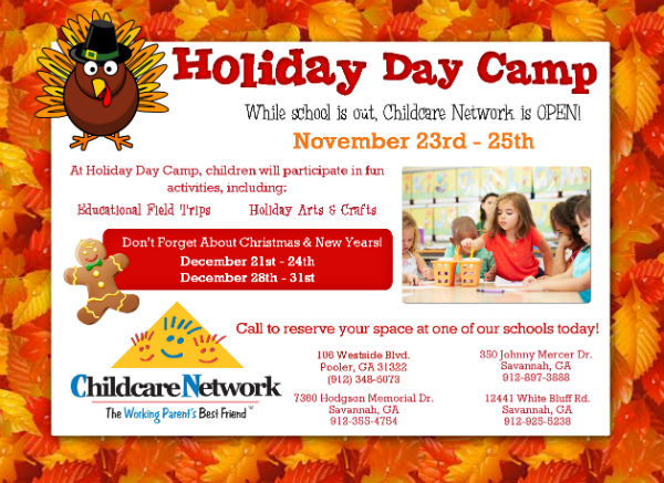 Holiday daycare camp Childcare Network Savannah Pooler