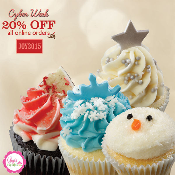 Cyber Week 20% discount at Gigi's Cupcakes Savannah