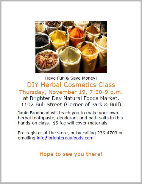 make your own herbal cosmetics class Brighter Day Natural Foods