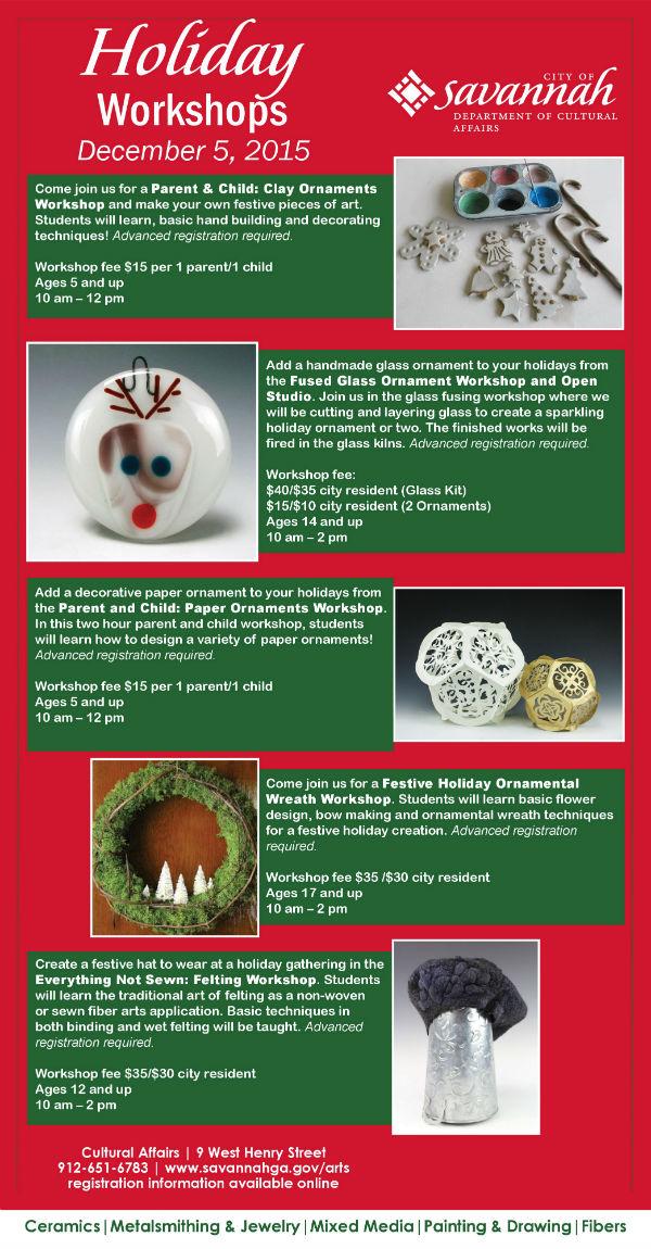 Holiday art workshops Savannah 2015