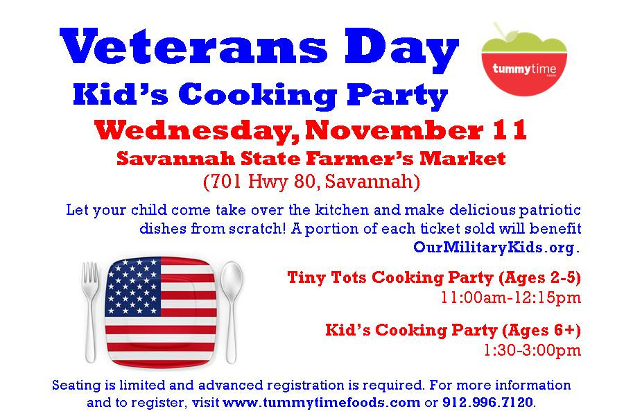 Veteran's Day Kids Cooking Party Savannah